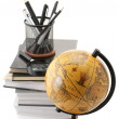 Globe, books and office supplies — Stock Photo #7346089