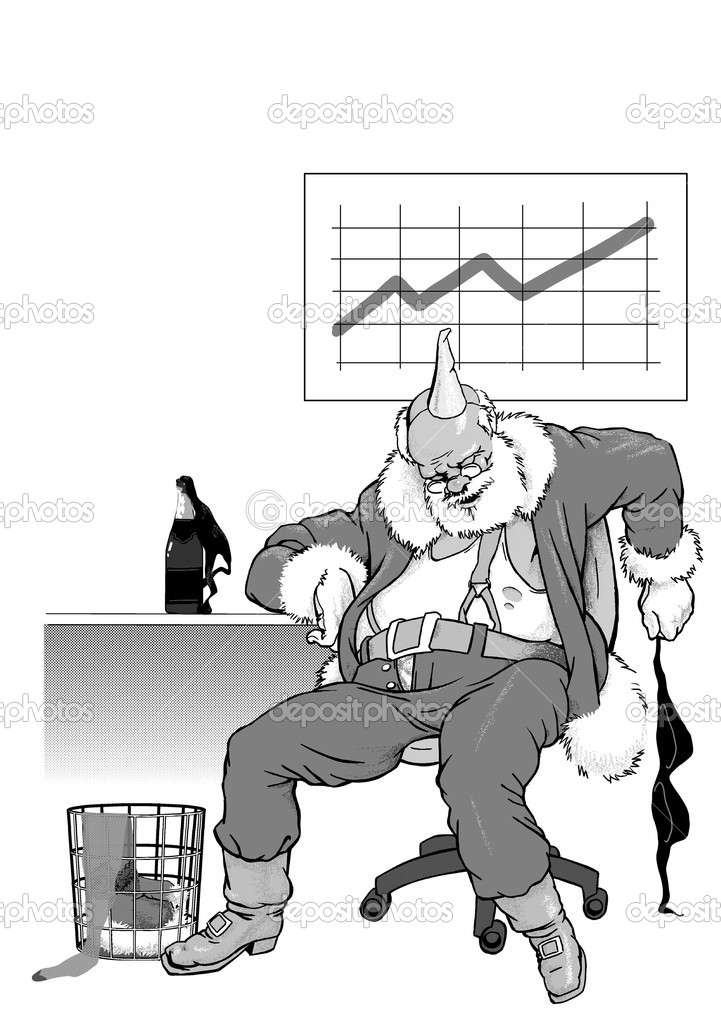 Sleeping Santa Claus after cheerful corporative — Stock Photo #7413004