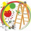 Step-ladder and paints — Stock Vector
