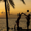 Постер, плакат: Beach volleyball sunset on the beach