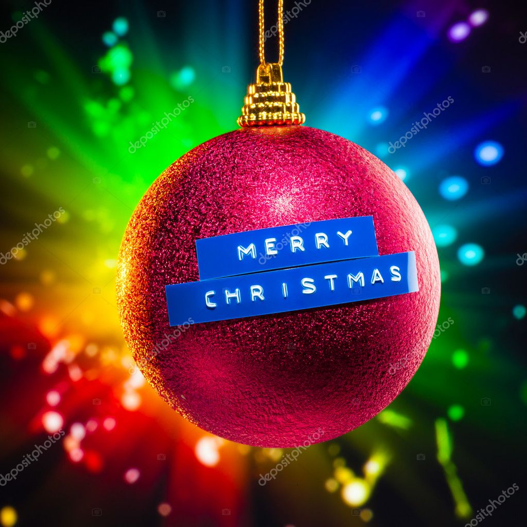 Merry Christmas decoration with colorful fireworks background — Stock Photo #7118013