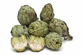 Fresh artichokes over white. — Stock Photo
