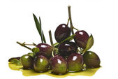 Olives and oil. — Stock Photo