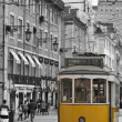 Stock Photo: Yellow tram in Lisbon.