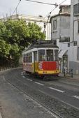 Classic tram in Lisbon street. — Stock Photo