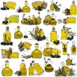Stock Photo: Great olive oil bottles set.