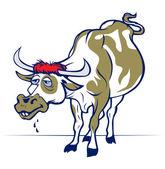 Cartoon smile cow or bull — Stock Vector