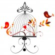 Cute birds singing — Imagen vectorial