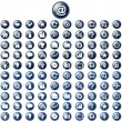 Stock Vector: Large set of glossy blue web buttons