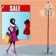Elegant shopping woman illustration — Stock Vector