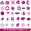 Set of purple abstract symbols — Stock Vector