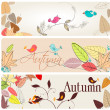 Set of cute autumn banners — Stock Vector