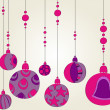 Beautiful Christmas background with purple globes — Stock Vector #6976316