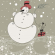 Cute Christmas greeting card with snowman — Stock Vector