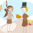 Cute Thanksgiving kids illustration — Stock Vector
