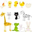 Stock Vector: Set of cute and funny animals