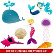 Stock Vector: Vector set of cute sea creatures