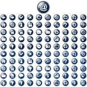 Amplio conjunto de botones web azul brillante — Vector de stock