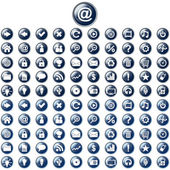 Large set of glossy blue web buttons — Wektor stockowy
