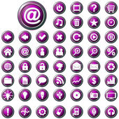 Large set of glossy purple web buttons — Stock Vector