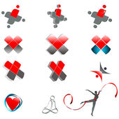 Set of abstract medical symbols — Stock Vector