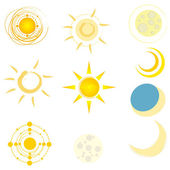 Set of cute suns and moons — Stock Vector
