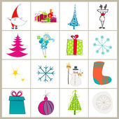 Set of cute Christmas illustrations — Stock Vector