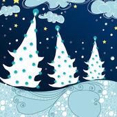 Carte de voeux mignon - forêt de noël nuit — Vecteur