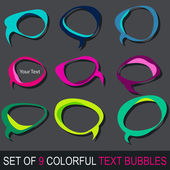 Set of colorful comic book text bubbles — Stock Vector