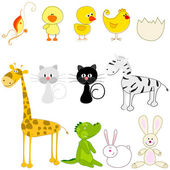 Set of cute and funny animals — Stock Vector
