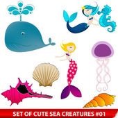 Vector set of cute sea creatures — 图库矢量图片