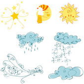 Set of cute weather elements — Stock Vector