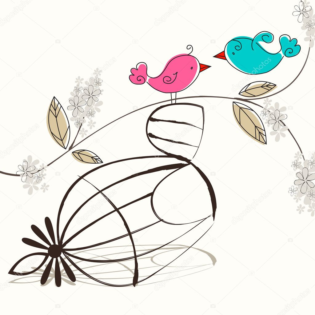 Vector cute birds singing — Imagen vectorial #6976004