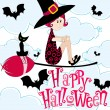 Cute Halloween witch — Stock Vector