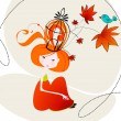 Cute autumn girl illustration — Stock Vector