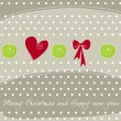 Beautiful Christmas background with heart and ribbon — Stock Vector #6996363