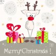Cute Christmas greeting card with reindeer — Imagen vectorial