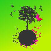 Cute world with butterflies — Stock Vector