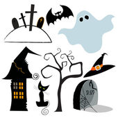 Cute set of Halloween design elements — Stock Vector