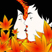 Autumn kiss — Stock Vector