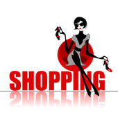 Elegant shopping woman — Vector de stock