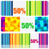 Set of beautiful colored banners or price tags — Stock Vector