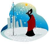 Elegant winter woman illustration — Stock Vector