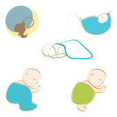 Set of cute babies sleeping — Stock Vector