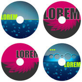 Set of CD labels — Stock Vector