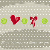Beautiful Christmas background with heart and ribbon — Stock Vector