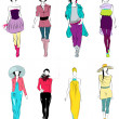 Stock Vector: Stylized fashion models