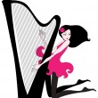 Beautiful woman playing a harp — Stock Vector