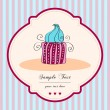 Cute retro cupcake card — Stock Vector
