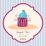 Cute retro cupcake card — Stock Vector